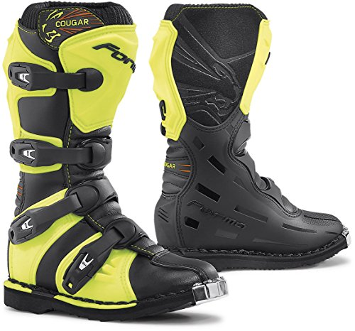 FORMA forc370-997832Stivali Moto Bambino e Junior Cougar Omologata CE, Nero/Yellow Fluo