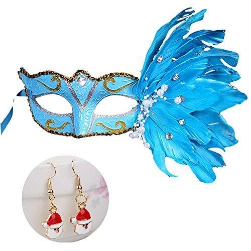 Weihnachten Halloween Festival Kostüm Party Feder Maske, Masquerade Maske Fancy Feder Party Maske für Bälle, Karneval, Geburtstag Partys und Kleid Parteien, Blau ()