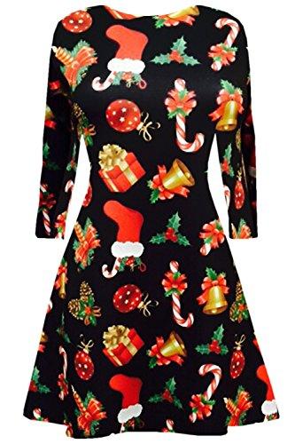 Damen Langärmlig Olaf Santa Geschenke Glocken Schneemann Weihnachten Bedruckt Aufgeweitet Swing Kleid Top Kinder Geschenk & Bell Schwarz