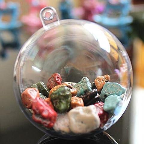 YUYIKES Weihnachtskugeln transparent Verzierung 10 stück DIY Kunststoff-Kugel teilbar als Saisonal Deko Weihnachtsgeschenk, Christbaumschmuck ,Baumschmuck Weihnachten Deko Anhänger (60mm)