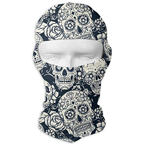 Wfispiy Neck Hood Full Face Mask Hat Sunscreen Breathable Quick Drying Skull with Floral Ornament Men Women