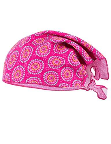 maximo Baby-Mädchen Mütze Kopftuch, Reversible, Mehrfarbig (Pink-Mintgrün-Kreise/Rosa Nelke 4602), 53