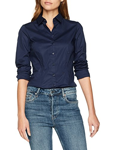 Seidensticker Damen Bluse Hemd Hemdbluse Langarm Slim Fit Uni Stretch, Blau (Navy 18), 42 (Herstellergröße: 42)