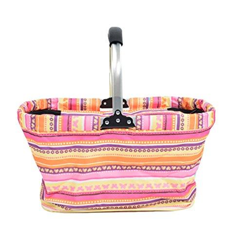 Dexinx Faltbarer Lunchbox Jacquard Weich Kühlung Picknick-Box Im Freien Pink 50*28*26cm