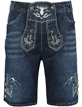 Almwerk Herren Trachten Jeans Lederhose kurz Modell Platzhirsch in blau und schwarz