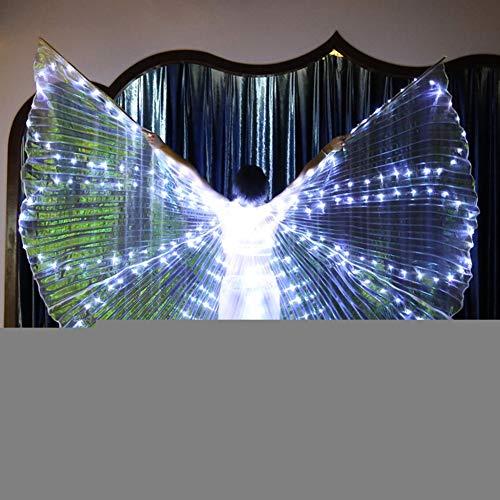 KT Mall LED Isis Wings Bauchtanz Flügel Mit Verstellbaren Sticks 360 Grad Tanz Requisiten Glowing Gold Wings Für Karneval, Bühne, Halloween Party,White