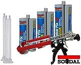 Soudal Kombiset 3x 2K-Schnellfest Zargenschaum á 210ml + 2K Pistole DM21-Metall