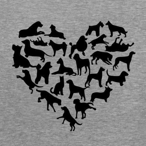 Love Heart Dogs - Damen T-Shirt - 14 Farben Sportlich Grau