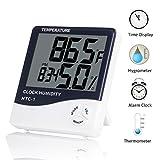 HighCool Hygrometer Thermometer, Digital Luftfeuchtigkeit Messer Thermometer Hygrometer LCD Indoor Elektronische Temperatur- und Feuchtigkeitsmessgerät Uhr Wetter Wecker