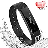 Bracciale Fitness, Braccialetto Fitness Tracker Cardiofrequenzimetro Contapassi da Polso Smart Watch Activity Tracker IP67 Compatibile IOS Android, Pedometro Conta Calorie e Cardiofrequenzimetro-Nero