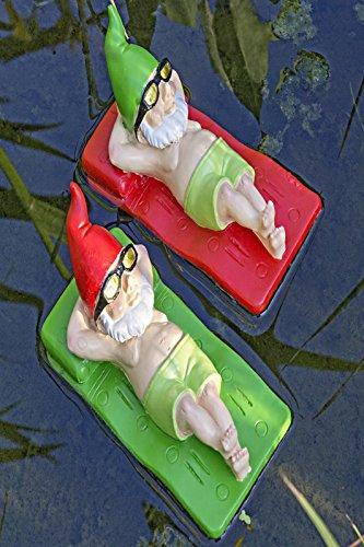 Figur Zwerg Luftmatratze Teich Kunstharz Teichfigur Gartenfigur Schwimmfigur Stückpreis