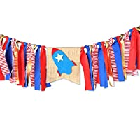 Rocket Theme Banner Solar System Decorations Astronaut Party Decoration Outer Space Banner Rocket Banner for Boy
