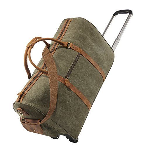 kattee-oversized-canvas-leather-trim-wheeled-duffle-bag-travel-weekend-tote-army-green