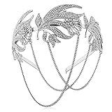 ArtiDeco 1920s Stirnband Flapper Haarband Stirn Kette Great Gatsby Halloween Motto Party Accessoires 1920s Flapper Charleston Zubehör (Silber)