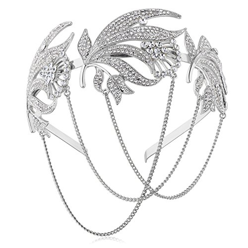 band Flapper Haarband Stirn Kette Great Gatsby Halloween Motto Party Accessoires 1920s Flapper Charleston Zubehör (Silber) ()
