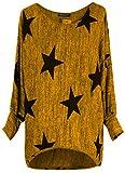 Emma & Giovanni - Langarmshirt Mit Blume - Pullover- Asymmetrisch Top - Damen (S/M, Ocker)