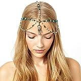 handmadejewelrylady cabeza cadena mujeres Fashion metal Rhinestone joyería diadema cabeza pelo banda
