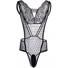 TiaoBug Homme String Body Combinaison sans Manches Dentelle sous-vêtement  Transparent Justaucorps Bodysuit Sexy Lingerie 52fe63b76eb