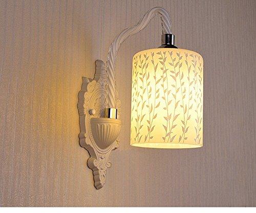 Wandleuchte Hardware (MOMO Europäische moderne einfache LED Wandleuchte, Single Headed Abs + Hardware Licht Körper Glas Lampenschirm Wandleuchte,Weizen)