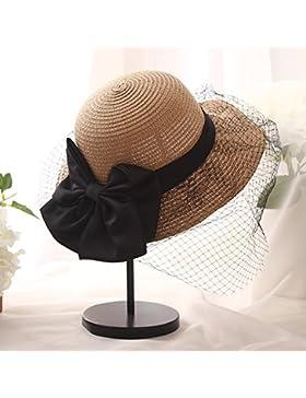 LVLIDAN Sombrero para el sol del verano Lady Anti-Sol Playa pescador sombrero de paja plegable caqui