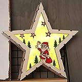 Weihnachtsstern LED Dekoration, Holz Stern Für Weihnachtsbeleuchtung, Weihnachtsdeko Aus Echtholz Für Fensterdeko Tischdeko, Winterwald Echtholz Stern beleuchtet