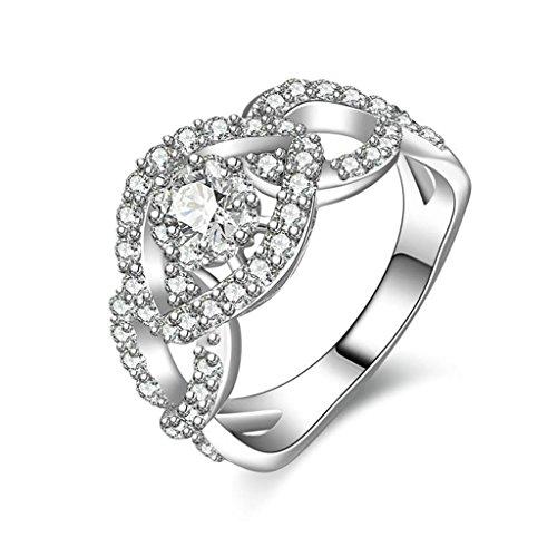 Daesar Silberring Damen Ring Silber Ehering für Damen Verlobungsring Benutzerdefinierte Ring Hohl Augenform Strass Ring Größe:60 (19.1) (Mat Mann Kostüm)
