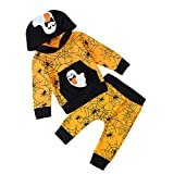 RAISEVERN Unisex Newborn 0-3M Baby Jungen Mädchen Kapuzenpullover Warm Hoodie Top + Legging Hosen Outfits Set Kinder Kleidung Halloween Sweatshirts Orange