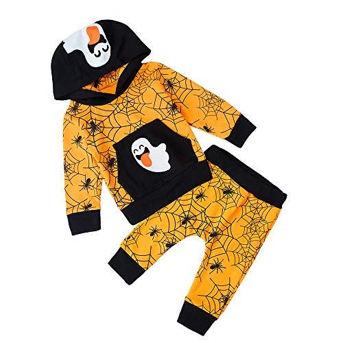 RAISEVERN Herbst Newborn Jungen Mädchen Kleidung Geist Print Tops T-Shirt Hosen Leggings Hoodie Set Halloween Trainingsanzug Spider Muster