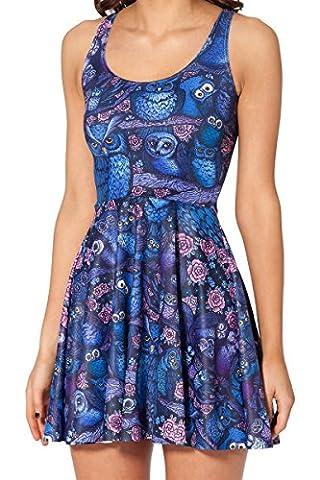 Lovelife' Women Blue Owl Print Knee-length Pleated Skater Dress