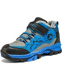 Botas de Senderismo Niños Invierno Zapatillas de Trekking Nieve Forrado de Piel Cálido Botas de Montaña Al Aire Libre Negro Verde Azul 30-40