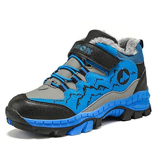 Wanderschuhe Jungen Trekking Schuhe Wanderstiefel Kinder Winterschuhe Warm Gefüttert Stiefel Schnee Outdoor Camping Rutschfeste Blau Grün Orange Gr.30-40 BL32