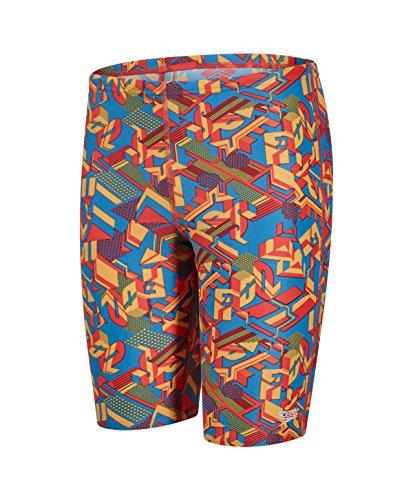 Speedo Jungen Clash Block Schwimmhose mit Allover-Print Swimwear, Danube/Risk Red/Mango, 30