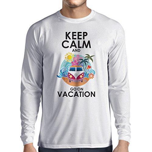 Maglietta a manica lunga da uomo Andate a Vacanza, abiti carini, abiti da spiaggia, usura resort Bianco Multicolore