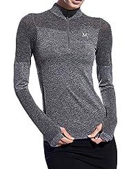 Ming T-shirts à Manches longues 1/4 zip Elastics Sèche Sportive Multifonctionnel Femme