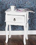 Kesser® Nachttisch Nachtschrank Kommode Nachtkommode mit 1 Schubladen Barock LANDHAUS Ablagetisch | Farbe: Weiß, Modell :KE-NT-NO