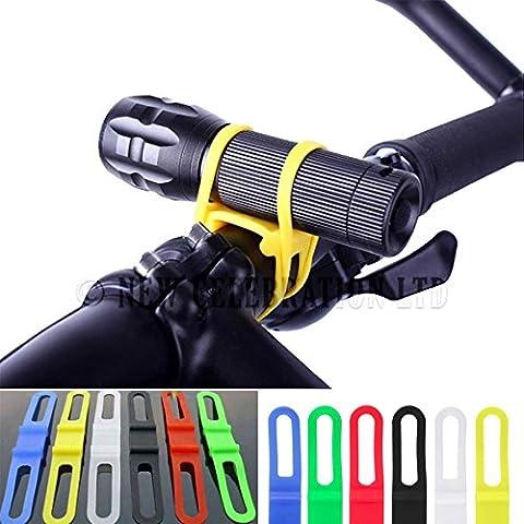 6pcs bicicletta torcia in silicone cinturino in gomma cinturino Fari Torcia, Mix colori assortiti Custodia Portacravatte