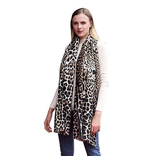 TDPYT Frauen Schals Damen Voile Lange Weiche Tier Leopardenmuster Schal Schal Wraps Schals Hijab Weiblich Strand Pareo Schal Schals-Gelb