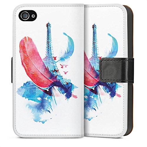 Apple iPhone 4 Housse Étui Silicone Coque Protection Ressort Art Tour Eiffel Sideflip Sac