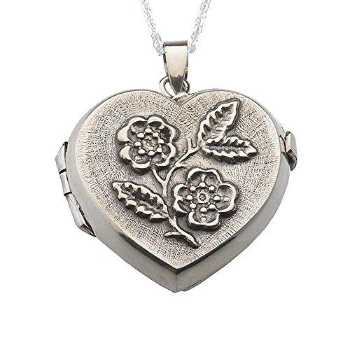 Alylosilver Collar Colgante Guardapelo de Plata para Dos Fotos en Forma de  Corazón con Flores Repujadas 80354c25ff1