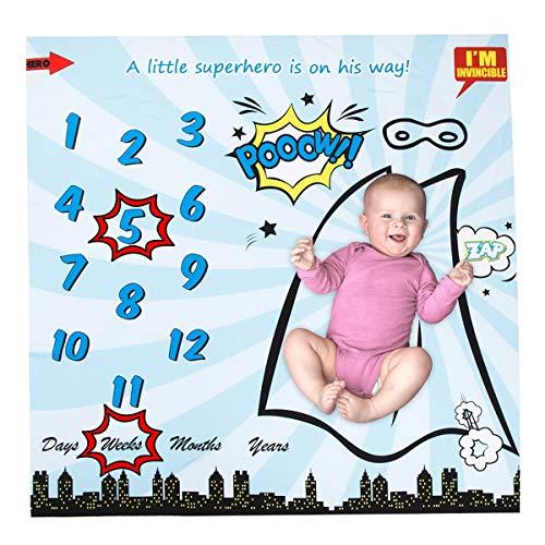held Print Swaddle Baby monatlichen Meilenstein Decke für Neugeborene Baby Boy Girl Fotografie Hintergrund Foto Prop Bonus Frame enthalten Neue Mutter (40 * 40 Zoll) ()