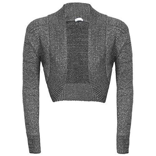 Janisramone Frauen schlicht Langarm Achselzucken Strickjacke oben (Lurex-sweater-kleid)