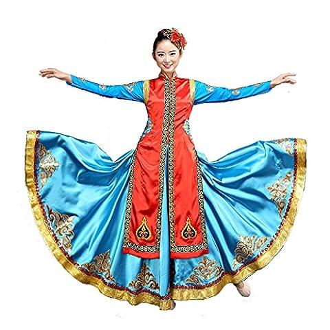 Wgwioo mongolischer tanz flamenco kleider ethnische minderheiten kleidung stickerei moderne klassische kostüme erwachsene frauen chor bühne national performance kostüm big rock , blue , s