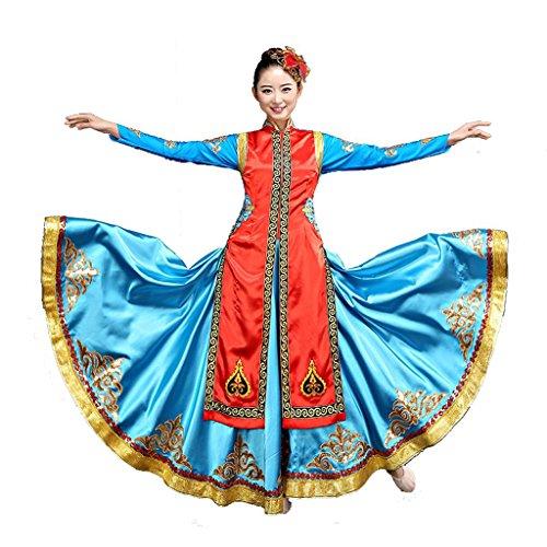Byjia Mongolischer Tanz Flamenco Kleider Ethnische Minderheiten Kleidung Stickerei Moderne Klassische Kostüme Erwachsene Frauen Chor Bühne National Performance Kostüm Big Rock Blue - Mongolische Tanz Kostüm