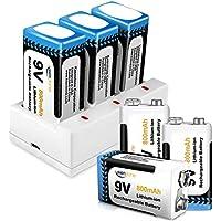 Juego de 6 PCS 9V Pilas Recargables y Cargador de 3 Ranuras 9V Keenstone 800mAh Batería