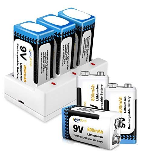 9V Batterie Ladegerät, Keenstone 6 St. 9V PP3 Li-Ion Block aufladbare Akku Batterien & 3 Slots Ladegerät, 800mAh, mit USB-Ladekabel, Ideal für Melder -
