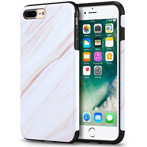 Mthinkor Funda iPhone 8 Plus Funda iPhone 7 Plus con Modelo Mármol Delgado Anti-arañazos Cubierta de la Funda Suave para iPhone 7 Plus y iPhone 8 Plus (Mármol Blanco)