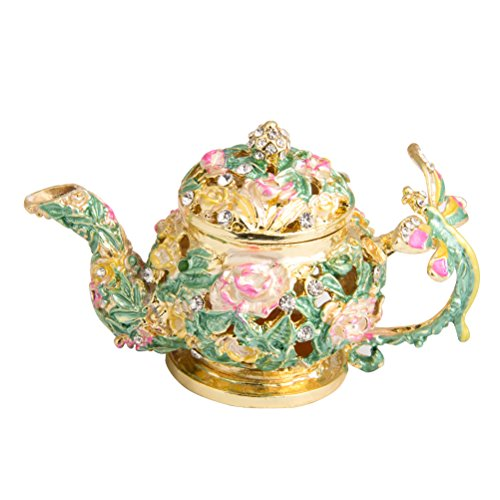 51xZmVUGMaL - QIFU Schmuckkästchen in Teekanne, Handbemalt, Dekorativ, mit Scharnier, Einzigartiges Geschenk für Zuhause