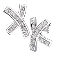 Naava Women's 0.1 ct Diamond Earrings in 9 ct White Gold