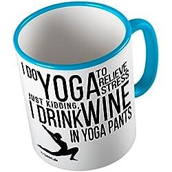 Yoga and Wine ★ Taza divertida - taza de café - taza de té ★ impresión de alta calidad y lema divertido ★ El regalo perfecto para cada ocasión