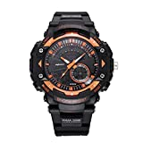 WMWMY Herren Sport Uhr Dual Display Analog Digital LED-Uhr Elektronischen Uhr Quarz 30 M Wasserdicht Militärischen Schwimmen Sehen, Orange